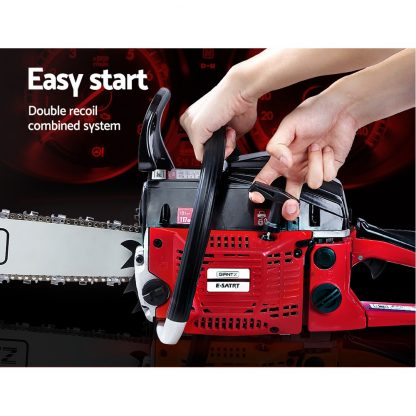 GIANTZ 45CC Petrol Commercial Chainsaw Chain Saw Bar E-Start Black