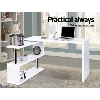 Artiss Rotary Corner Desk with Bookshelf - White