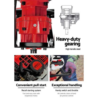 Giantz 92CC Petrol Post Hole Digger Drill Borer Fence Extension Auger Bits