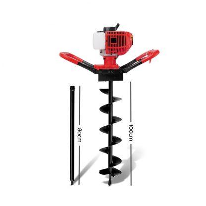 Giantz 80CC Petrol Post Hole Digger Drill Borer Fence Extension Auger Bits