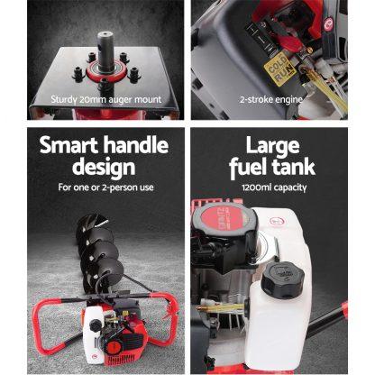 Giantz 66CC Post Hole Digger Petrol Earth Auger Bits Drill Borer Fence