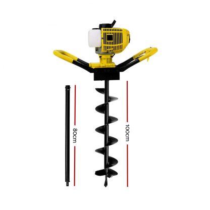 Giantz 80CC Petrol Post Hole Digger Auger Bits Drill Borer Fence Extension