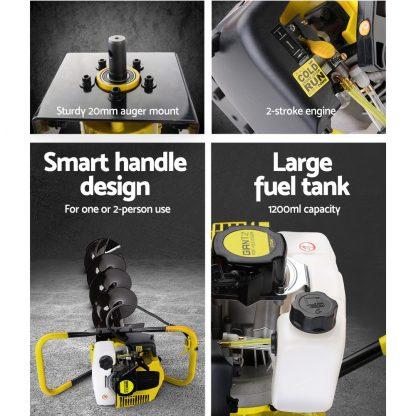 Giantz 80CC Post Hole Digger Petrol Drill Auger Borer Fence Extension Bits