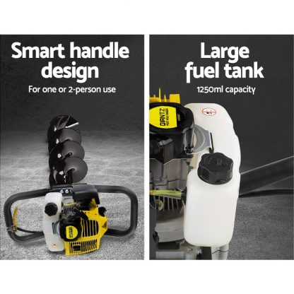 Giantz 66CC Post Hole Digger Petrol Drill Borer Fence Extension Auger Bits