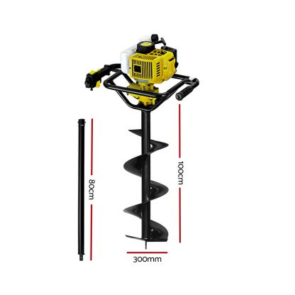 Giantz 92CC Post Hole Digger Petrol Auger Drill Borer Fence Earth Power 300mm
