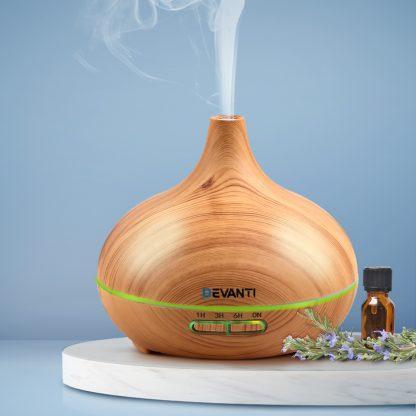 Devanti 300ml 4 in 1 Aroma Diffuser - Light Wood