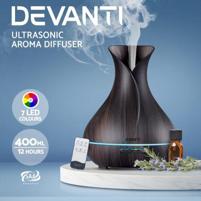 Devanti 400ml 4 in 1 Aroma Diffuser with remote control- Dark Wood