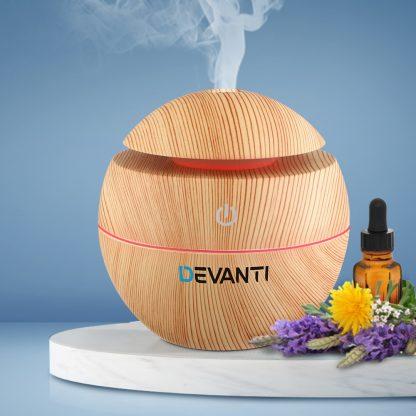Devanti Aromatherapy Diffuser Aroma Essential Oils Air Humidifier LED Light 130ml