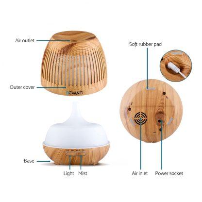 Devanti Aromatherapy Diffuser Aroma Essential Oils Air Humidifier LED Light 400ml