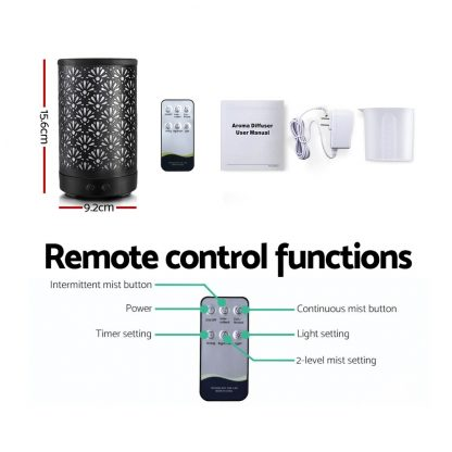 Devanti Aroma Diffuser Aromatherapy Essential Oils Metal Cover Ultrasonic Cool Mist 100ml Remote Control Black