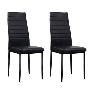 Artiss Set of 4 Dining Chairs PVC Leather - Black