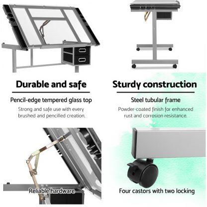 Artiss Drawing Desk Drafting Table Craft Adjustable Glass Art Tilt Drawers Grey