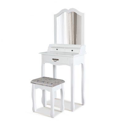 Artiss Dressing Table Stool Mirror Drawer Makeup Jewellery Cabinet White Desk