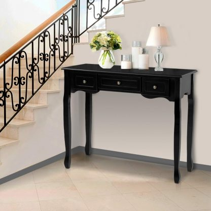 Artiss Hallway Console Table Hall Side Dressing Entry Display 3 Drawers Black