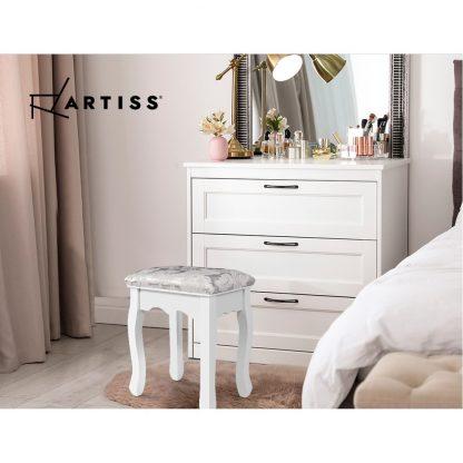 Artiss Dressing Stool Bedroom White Make Up Chair Living Room Fabric Furniture