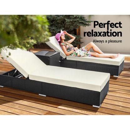 Outdoor Sun Lounge Wicker Lounger Setting Day Bed Chair Pool Furniture Rattan Sofa Cushion Garden Patio 3pc Gardeon Black Frame