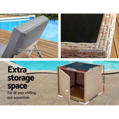 Gardeon 3 Piece Outdoor Wicker Lounge Set - Brown