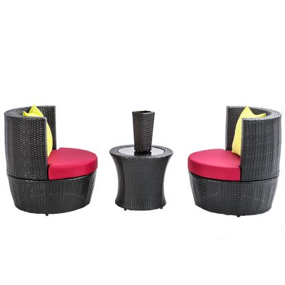 Gardeon 4 Piece PE Wicker Outdoor Set - Black
