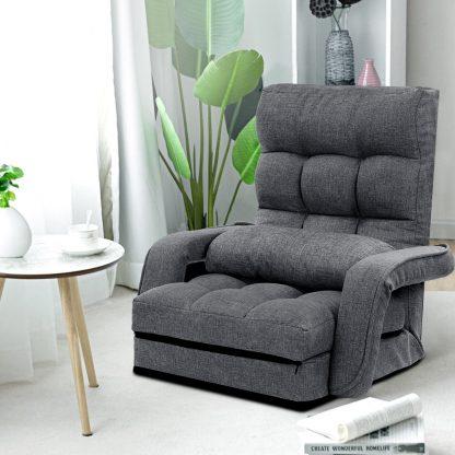 Artiss Lounge Sofa Armchair Floor Recliner Chaise Linen Folding Chair Adjustable