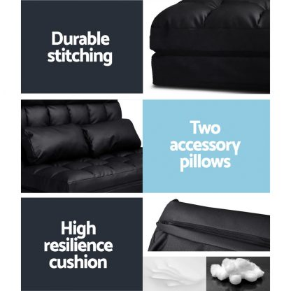 Artiss 2-seater Adjustable Lounge Sofa - Black