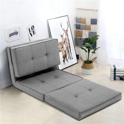 Artiss Lounge Sofa Floor Couch Chaise Chair Recliner Futon Linen Folding Grey