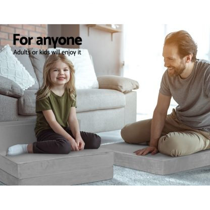 Giselle Bedding Folding Foam Mattress Portable Sofa Bed Lounge Chair Velvet Light Grey