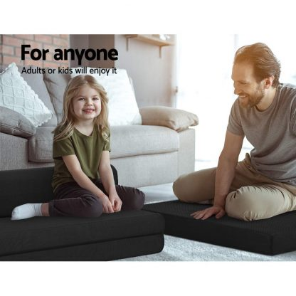 Giselle Bedding Folding Foam Mattress Portable Double Sofa Bed Mat Air Mesh Fabric Black