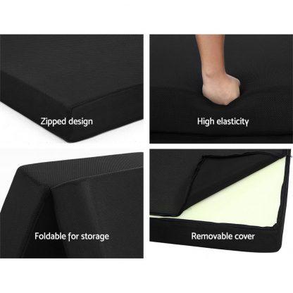 Giselle Bedding Folding Foam Mattress Portable Single Sofa Bed Mat Air Mesh Fabric Black
