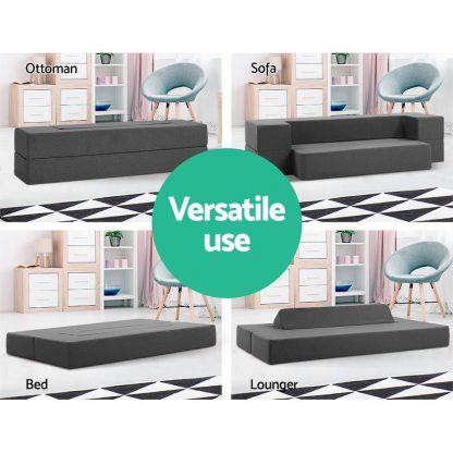 Giselle Bedding Portable Sofa Bed Folding Mattress Lounger Chair Ottoman Grey