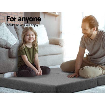 Giselle Bedding Double Size Folding Foam Mattress Portable Bed Mat Dark Grey