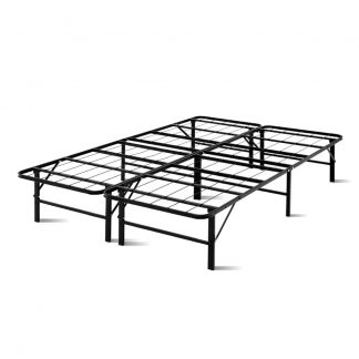 Artiss Foldable Double Metal Bed Frame - Black