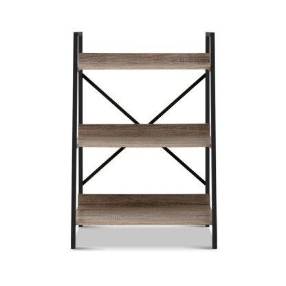 Artiss Bookshelf 3Tier Metal Bookcase Bookshelves Oak Book Shelf Display Storage