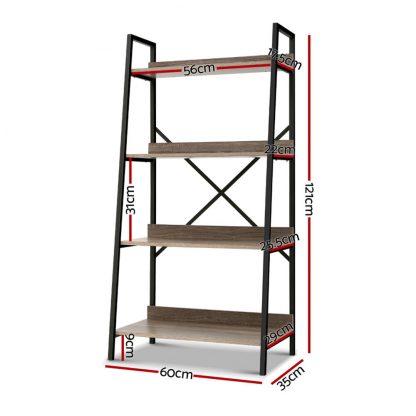 Artiss Bookshelf 4Tier Metal Bookcase Bookshelves Oak Book Shelf Display Storage