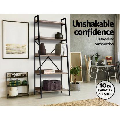 Artiss Bookshelf 5Tier Metal Bookcase Bookshelves Oak Book Shelf Display Storage