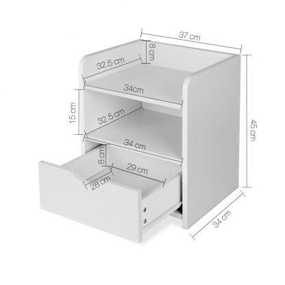 Artiss Bedside Table Drawer - White