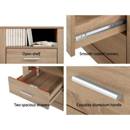 Artiss Bedside Tables Drawers Storage Cabinet Shelf Side End Table Oak