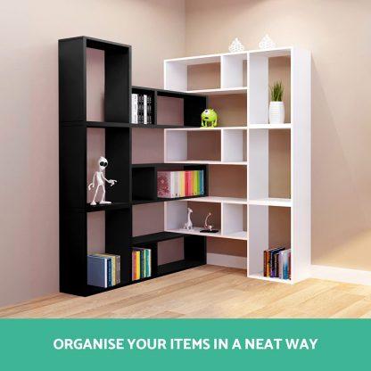 Artiss DIY L Shaped Display Shelf - Black