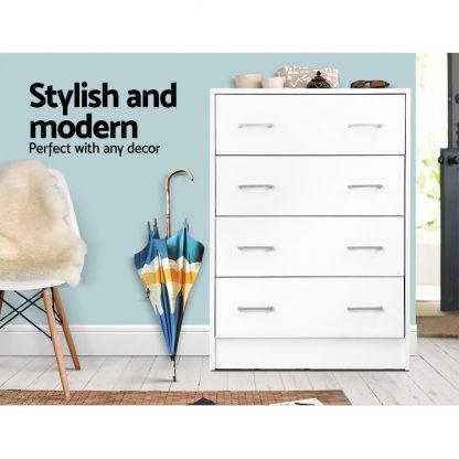 Artiss Tallboy 4 Drawers Storage Cabinet - White