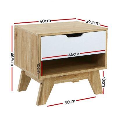 Artiss Bedside Table Drawer Nightstand Shelf Cabinet Storage Lamp Side Wooden