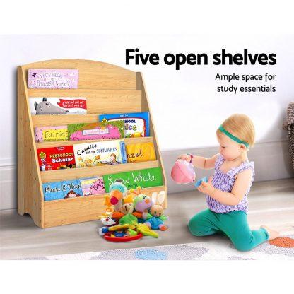 Keezi 5 Tiers Kids Bookshelf Magazine Shelf Rack Organiser Bookcase Display