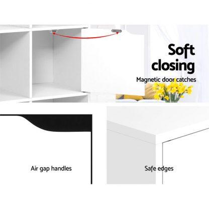 Artiss Display Shelf 8 Cube Storage 4 Door Cabinet Organiser Bookshelf Unit White