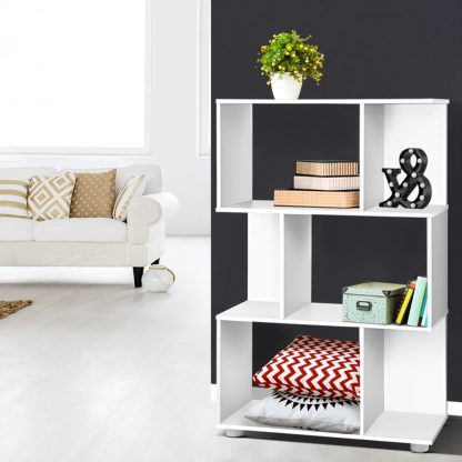 Artiss 3 Tier Zig Zag Bookshelf - White