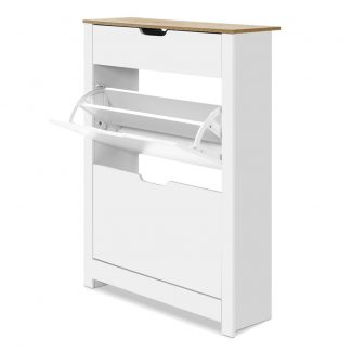 Artiss Shoe Cabinet Rack Storage Organiser Cupboard Shelf Drawer 16 Pairs White