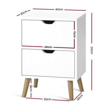 Artiss Bedside Tables Drawers Side Table Nightstand White Storage Cabinet Wood