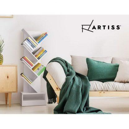 Artiss Display Shelf 7-Shelf Tree Bookshelf Book Storage Rack Bookcase White