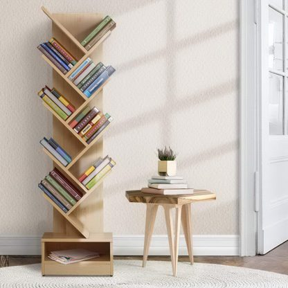 Artiss Display Shelf 9-Shelf Tree Bookshelf Book Storage Rack Bookcase Natural