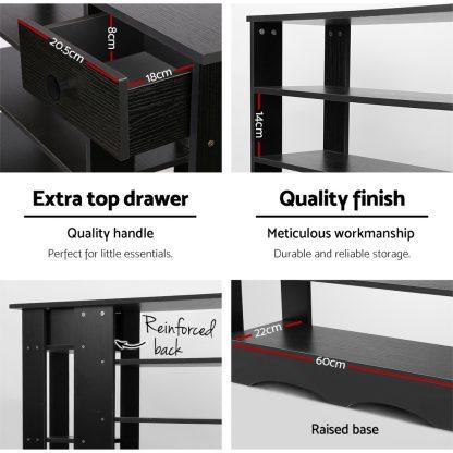 Artiss Shoe Cabinet Shoes Organiser Storage Rack Shelf Wooden 32 Pairs Black
