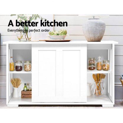 Artiss Buffet Sideboard Cabinet White Doors Storage Shelf Cupboard Hallway Table White