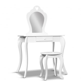 Keezi Kids Vanity Dressing Table Stool Set Mirror Drawer Children Makeup White