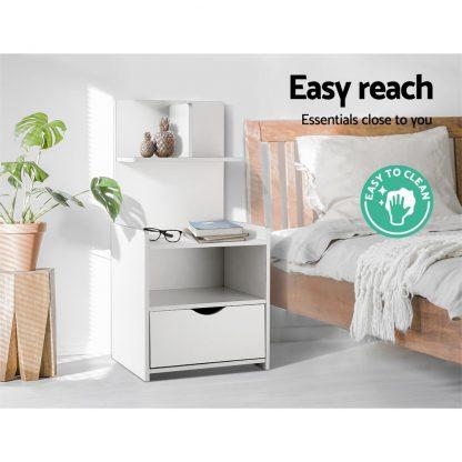 Artiss Bedside Table Cabinet Shelf Display Drawer Side Nightstand Unit Storage